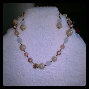 Pink, rose, and white beaded necklace earring set